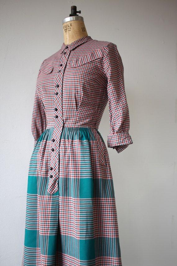 1940s vintage dress / 40s plaid cotton dress / 40… - image 5