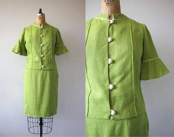 vintage 1960s suit / 60s lime green suit / 60s bel