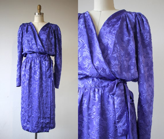 vintage 1980s dress / 80s silky dress / 1980s flor