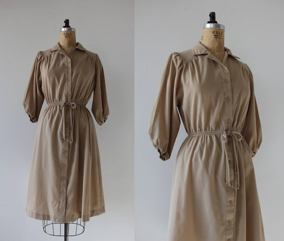 vintage 1970s dress / 70s tan dress / 70s khaki dr