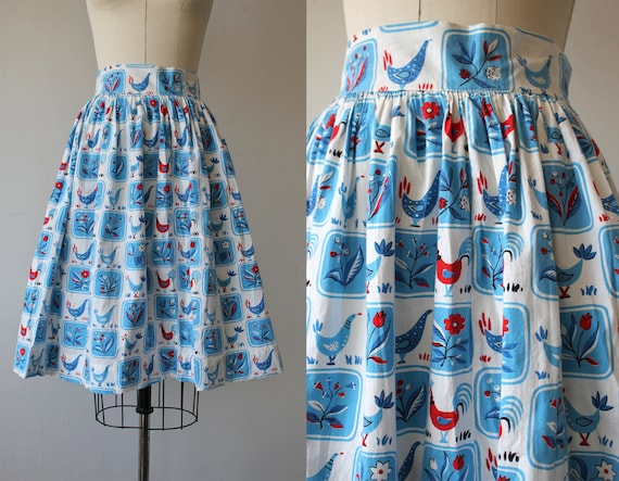 vintage 1950 skirt / 50s full skirt / 50s novelty