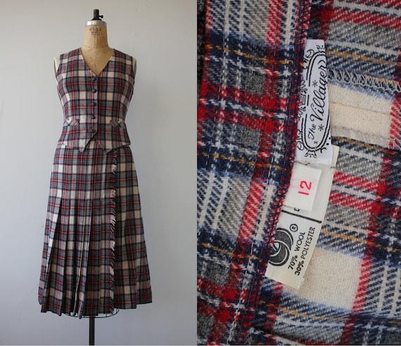 vintage 1970s vest and skirt set / 70s wool plaid