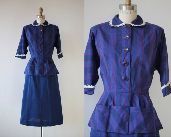 1940s vintage dress / 40s blue cotton dress / 40s