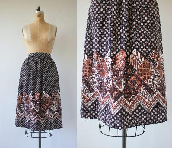 vintage 1970s skirt / 70s batik print skirt / 70s