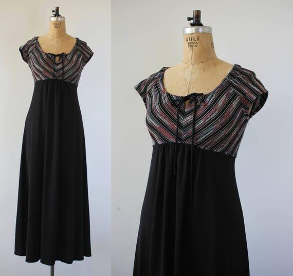 1970s vintage maxi dress / 70s black maxi dress /