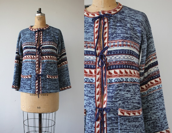 vintage 1970s sweater / 70s blue sweater / 70s spa