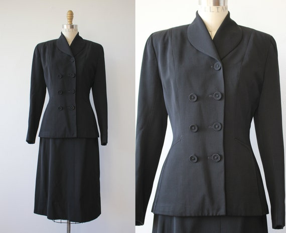 vintage 1940s suit / 40s black suit / 1940s ladies