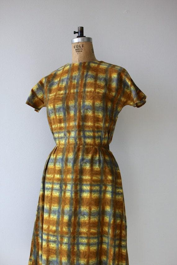 1950s vintage dress / 50s golden plaid dress / 50… - image 3