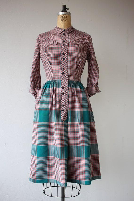1940s vintage dress / 40s plaid cotton dress / 40… - image 2