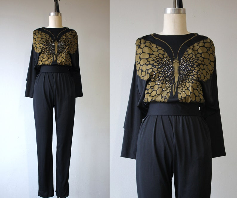 4594ffe9e26f vintage 1970s jumpsuit   late 70s disco glam jumpsuit   70s black jumpsuit    70... vintage 1970s jumpsuit   late 70s disco glam jumpsuit   70s black  ...