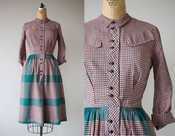 1940s vintage dress / 40s plaid cotton dress / 40s