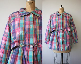 vintage 1980s jacket / 80s plaid jacket / pastel spring jacket / drawstring waist jacket / pastel plaid short jacket / medium large