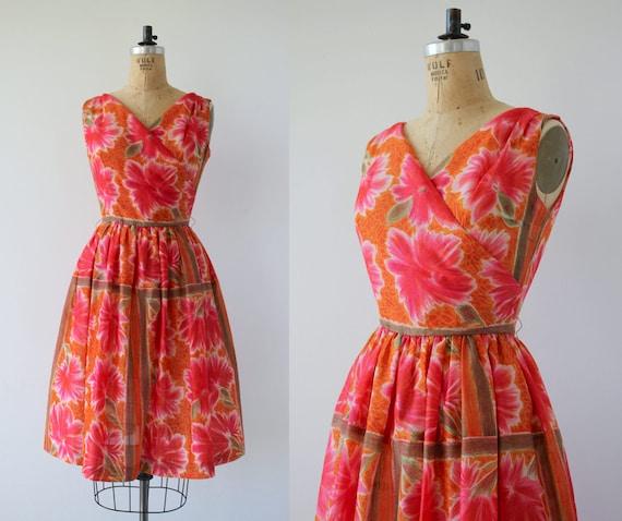 vintage 1950s dress / 50s pink floral dress / 50s
