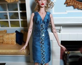 Cocktail Dress Cadet Blue Silk Shantung - For ModsDolls - Kingdom - Ficon Dolls