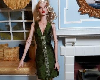 Cocktail Dress Olive Green Silk Shantung - For ModsDolls or  Ficon Dolls