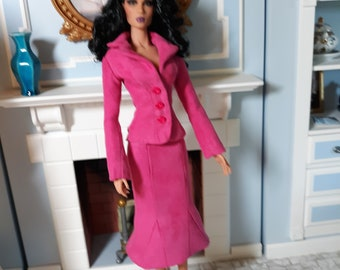 "Raspberry Faux Suede 2 Piece Suit - to fit slender 16"" Fashion Dolls"