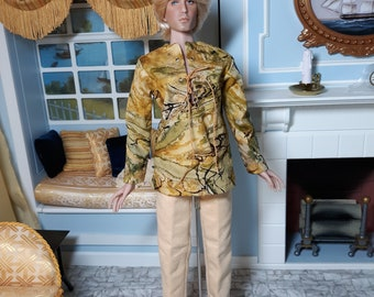 2 Piece Gold & Chamois color Casual Outfit tailored for Kinsman / Matt Men dolls