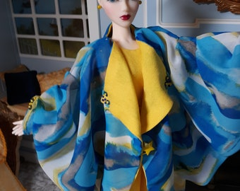 Lounging PJs & Cocoon Robe in Printed Chiffon and Viscose Knit c.1930 fits 16 inch fashion dolls