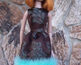 "22"" American Model Doll Silk Brocade Cocktail Dress"