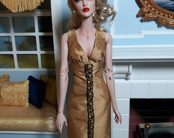 Cocktail Dress Gold Silk Shantung - For ModsDolls - Kingdom - Ficon Dolls