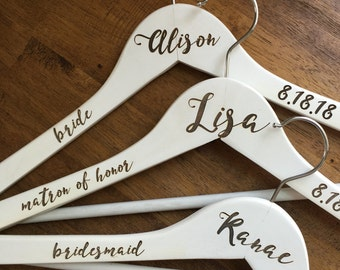 Personalized Wedding Party Hangers -Wooden, Choose Your Hanger Style- Wedding Dress Hanger, Bridesmaids Gifts, Bridal Hangers, Custom Hanger