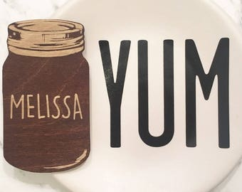 Mason Jar Place Cards - Wooden Mason Jar, Mason Jar Escort Card, Mason Jar Ornament, Mason Jar Favors, Custom Mason Jar, Engraved Mason Jar