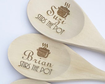 Custom Stirs the Pot Name Wooden Spoons - Set of 2 - Kitchen Spoons, Housewarming Gift, Custom Wooden Spoons, Engraved Wooden Spoons