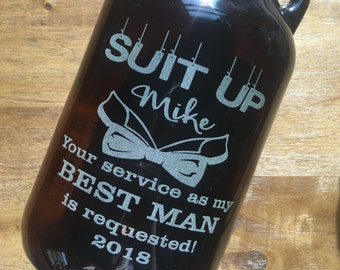 Wedding Party Beer Growlers - 64 oz - Groomsmen Gifts, Best Man, Beer Drinker, Home Brewer, Groomsman, Laser Engraved, Custom Engraved