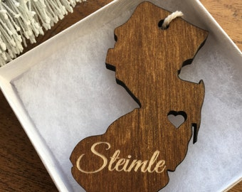 Custom State Wooden Ornament - Custom Engraved Ornament, Personalized Ornament, Wedding Favors, Wood Ornament, Custom Wood Ornament, Wedding