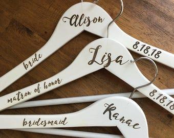 Personalized Bride/Wedding Party Hangers - Wooden, Choose Your Hanger Style, Custom Hangers, Bridal Hangers, Wedding Dress Hanger