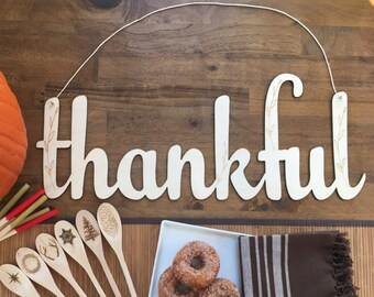 Thankful Large Wood Sign - Thanksgiving, Wood Cut Sign, Wood Sign, Rustic