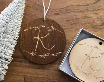 "Custom Wooden Ornament-""Laurel Branch"" Design w Gift Box-Personalize with Monogram or Up To 2 Lines of Text- Custom Ornament, Christmas Tree"