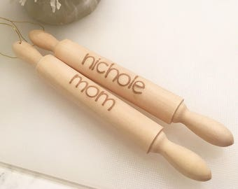 Personalized Mini Engraved Rolling Pin Ornament - Custom Ornament, Engraved Ornament, Rolling Pin, Engraved Rolling Pin, With Gift Box