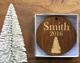 "Custom Wooden Ornament -""The Tree"" Design with Gift Box- Personalize with Monogram or Up To 2 Lines of Text- Custom Ornament, Christmas Tree"