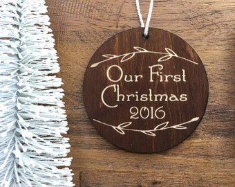 Our First Christmas Wooden Ornament - Christmas Tree, Ornament, Holiday Ornament, Wood Ornament