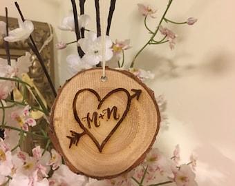 Heart Arrow Tree Carving Ornament - Customize, Custom Ornaments, Home Decor, Wedding, Christmas Tree