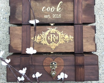 Personalized Heart Lock Wine Box - Time Capsule, Wine Ceremony - Wooden Wine Box, Custom Wine Box, Custom Engraved Wine Box, Rustic Wine Box