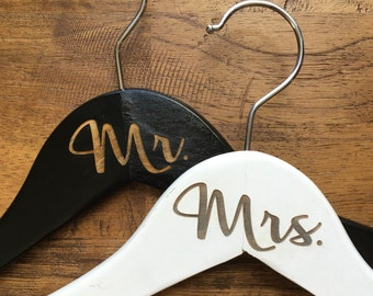 Mr. and Mrs. Wooden Hangers Set - Set of 2