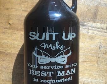 Groomsmen, Best Man Beer Growlers - 64 oz - Groomsmen Gifts, Best Man, Beer Drinker, Home Brewer, Groomsman, Laser Engraved, Custom Engraved