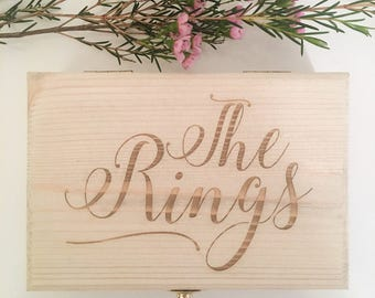 Ring Box, Ring Bearer Box - The Rings, Wooden Ring Box, Custom Ring Box, Engraved Ring Box, Wedding Box, Wedding Ring, Ring Storage, Rings