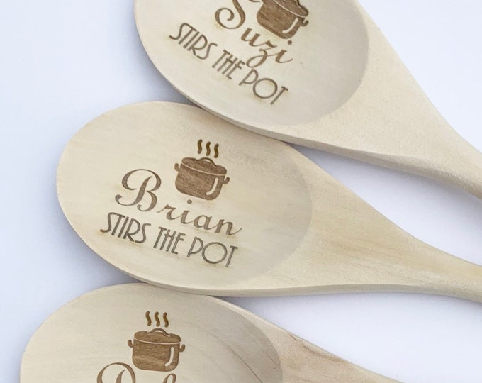 Featured listing image: Custom Stirs the Pot Name Wooden Spoons - Set of 2 - Kitchen Spoons Wooden Spoons, Utensils, Housewarming Gift