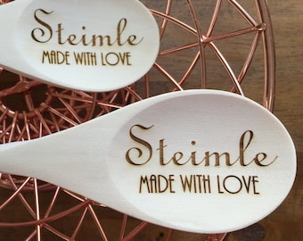 Made With Love Custom Name Wooden Spoons - Set of 2 - Kitchen, Utensils