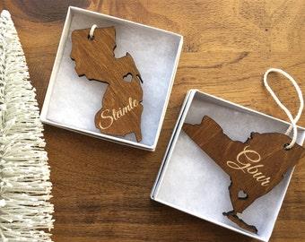 Custom State Wooden Ornament - Custom Engraved Ornament, Personalized Ornament, Christmas Tree, Wood Ornament, Custom Wood Ornament, Holiday