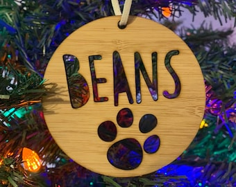 Personalized Bamboo Pet Ornament - Bamboo Ornament, Christmas Ornament, Dog Ornament, Animal Ornament, Christmas Gift, Christmas Tree