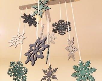 Snowflake Mobile - Snowflakes, Nursery Decor, Nursery Mobile, Home Decor, Christmas Decoration, Wooden Mobile, Wood Mobile