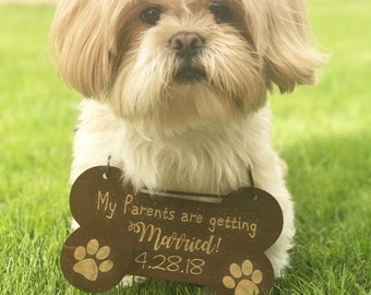 My Parents Are Getting Married Dog Sign - Wedding Dog Sign, Wedding Sign, Wooden Sign, Wooden Wedding Sign, Dog Sign, Dog Ring Bearer Sign