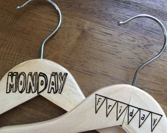 Days of the Week Kid's Wooden Hangers Set - Monday Through Sunday - Set of 7