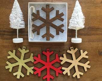 Wooden Snowflake Ornament - The Jack Ornament with Gift Box - Christmas Ornament, Wood Ornament, Christmas Tree Decoration