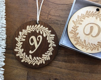 """Custom Wooden Ornament-""""The Wreath"""" Design with Gift Box-Personalize with Monogram or Up To 2 Lines of Text- Custom Ornament, Christmas Tree"""