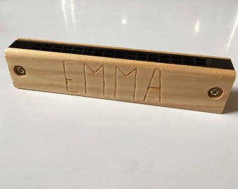 Custom Engraved Harmonica - Kids Wooden Harmonica, Toys, Wooden Toys